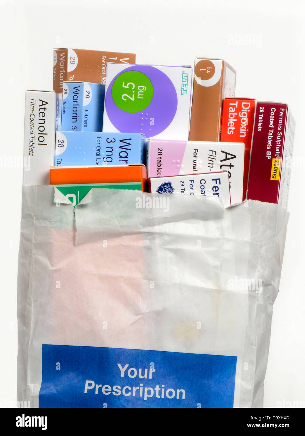 A bag of prescription medicines from the chemist. - Stock Image