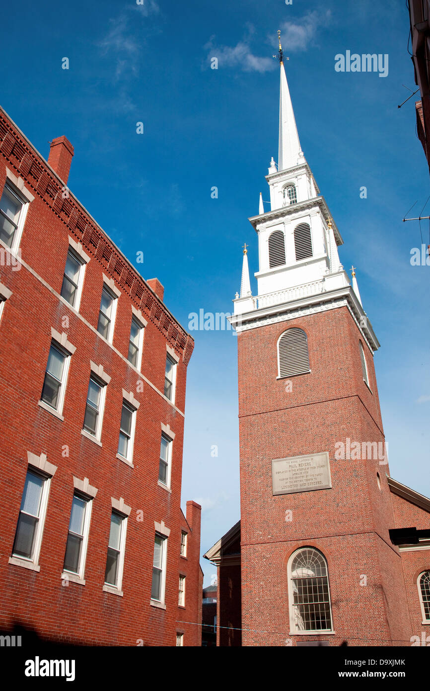 The Old North Church is officially known as Christ Church in City Boston on April 18 1775 was site two lanters that - Stock Image