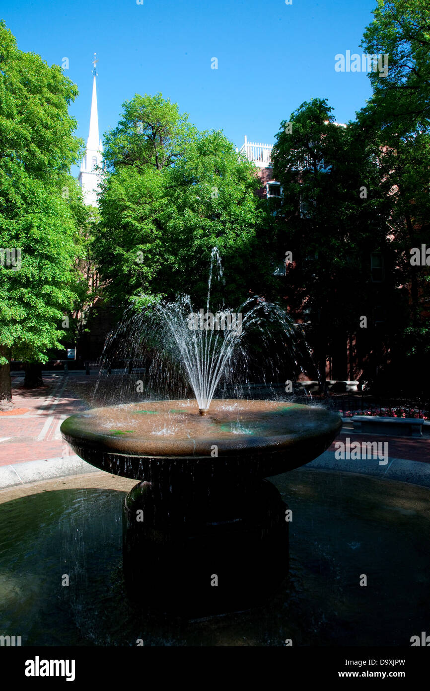 The Old North Church (and fountain) is officially known as Christ Church in City Boston on April 18 1775 was site - Stock Image
