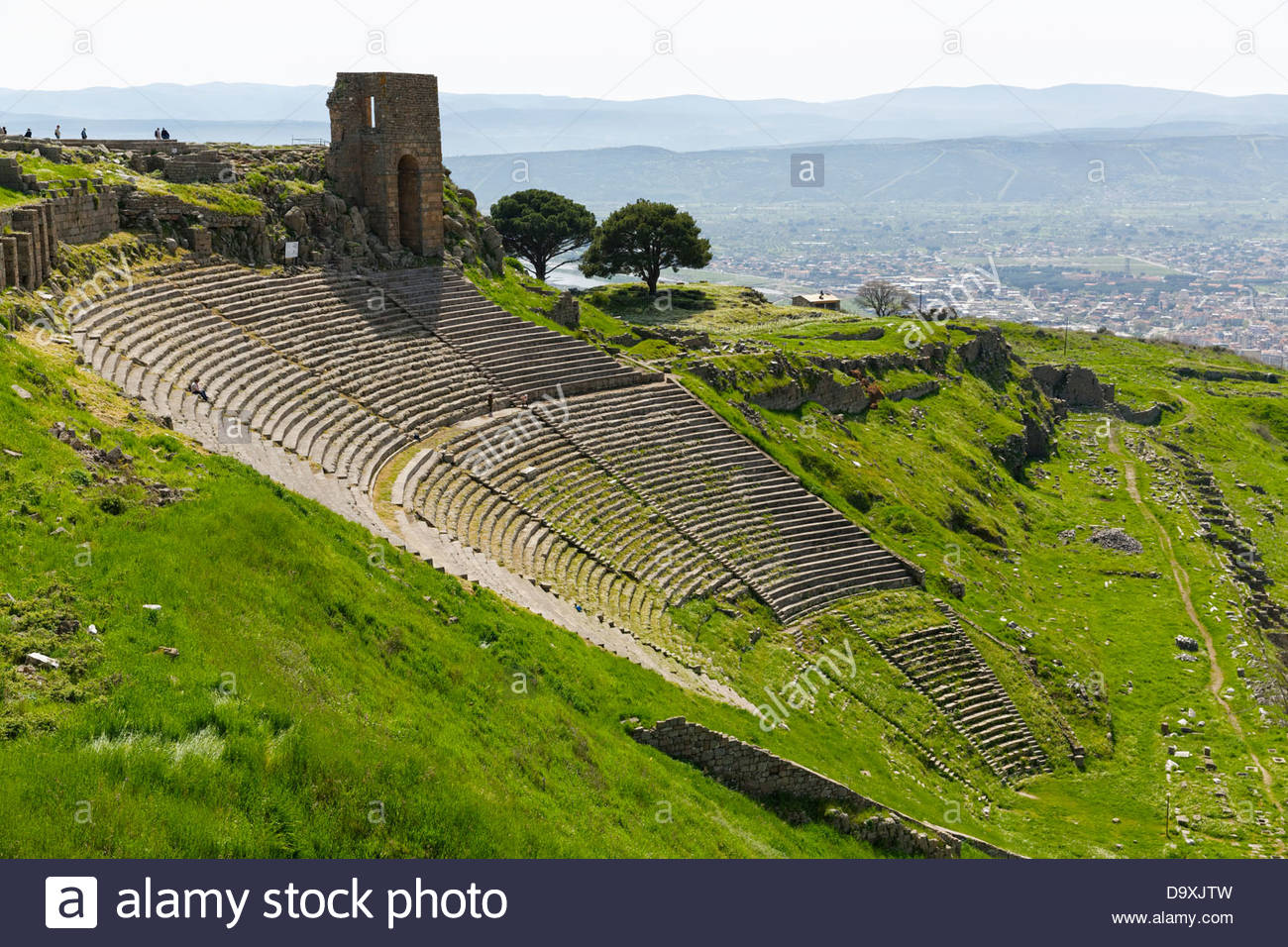 Turkey, Pergamon, View of Hellenistic Theater - Stock Image
