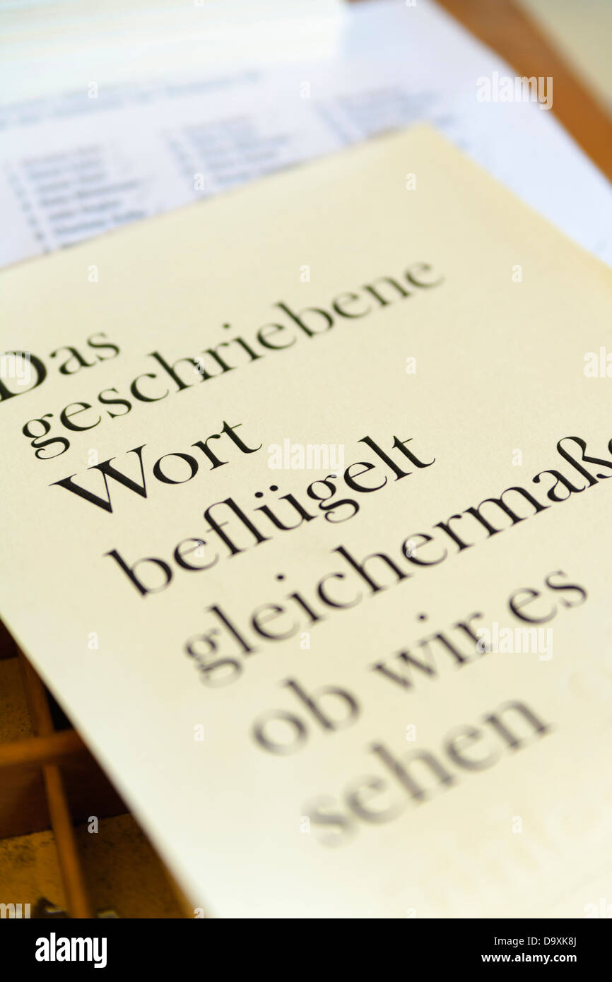 Germany, Bavaria, Page printed with lead typesetting in print shop, close up - Stock Image