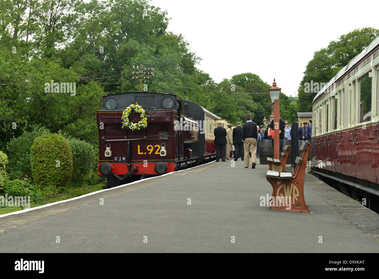 Funeral Train for Chris Woodland at Staverton Station, South Devon Railway -1 - Stock Image