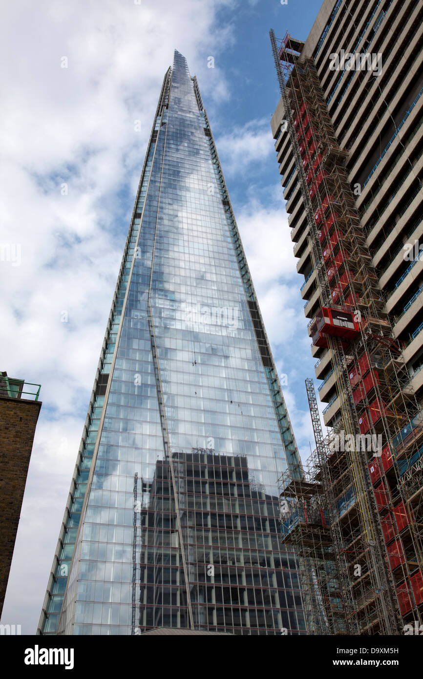 Shard Reflection Construction Works on Tower Wing at Guys and St Thomas Hospital Alongside - London UK - Stock Image