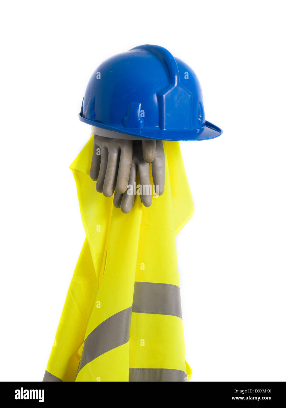 Reflective vest, helmet and safety gloves isolated on white background. A safety equipment. - Stock Image