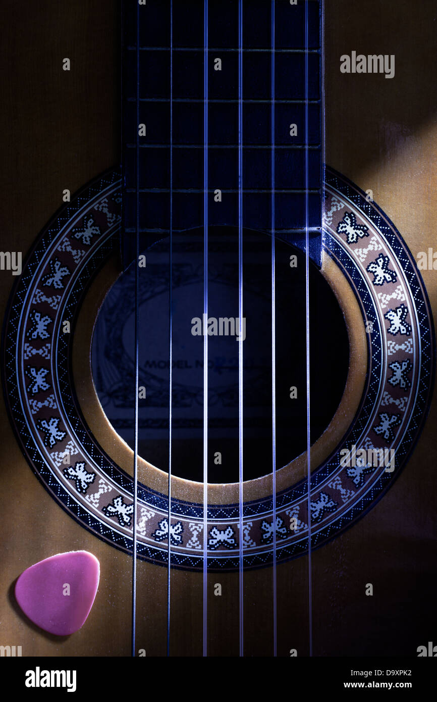 Classical Guitar Hole Close Up with Plectrum - Stock Image