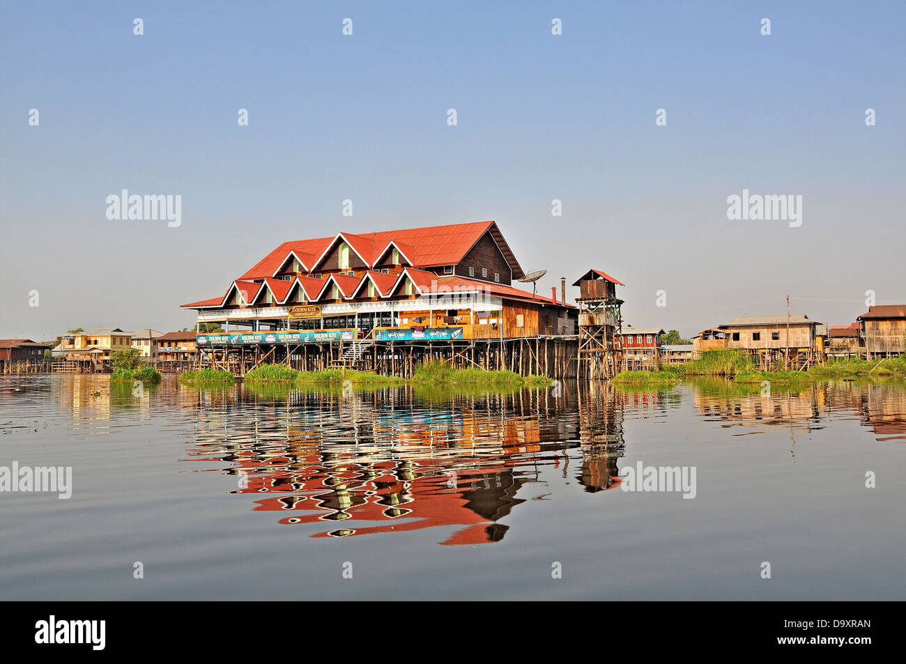 Golden Kite restaurant Inle lake Myanmar - Stock Image