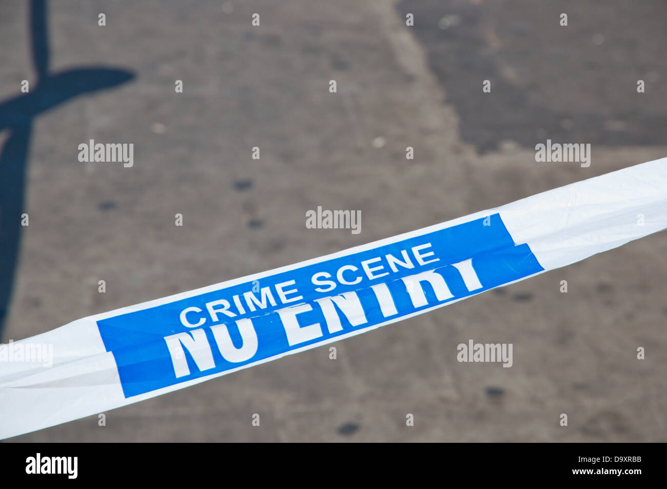 Taped off crime scene College Green street central Dublin Ireland Europe - Stock Image