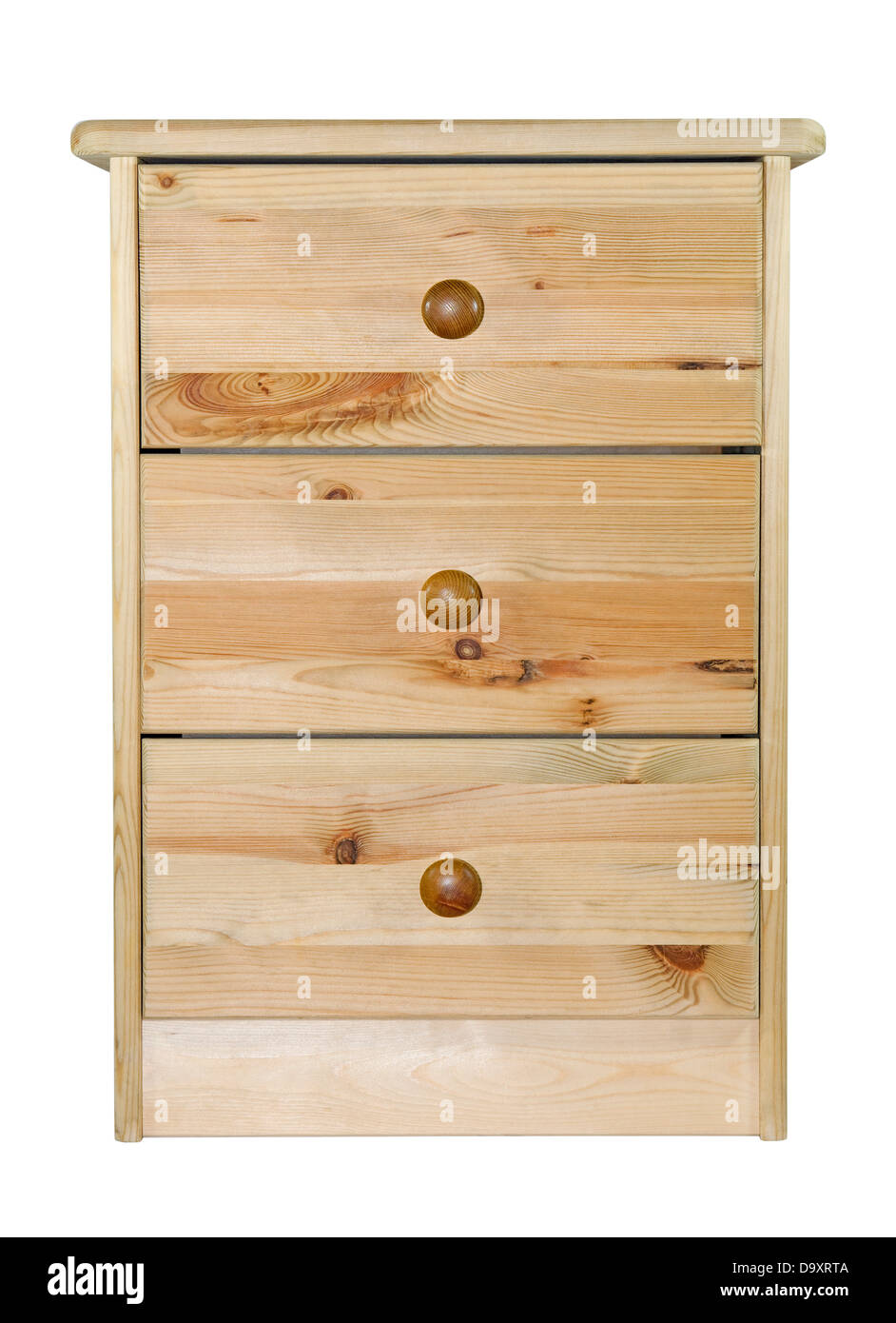 Pine chest of drawers with clipping path - Stock Image