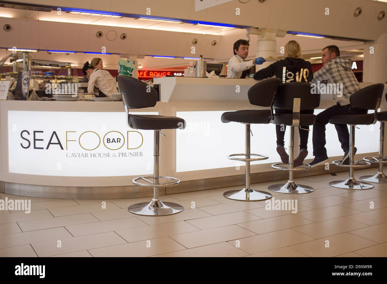 seafood and caviar bar in Gatwick airport - Stock Image