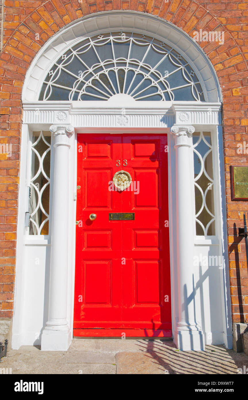 House doors along Clare Street central Dublin Ireland Europe - Stock Image
