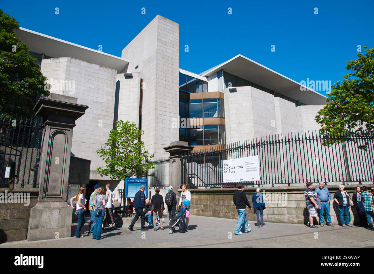Nassau Street entrance to Trinity College university campus central Dublin Ireland Europe - Stock Image