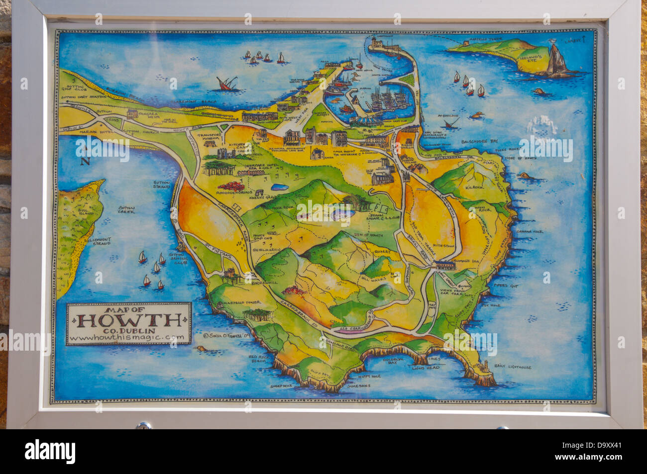 Map Of Ireland Near Dublin.Map Of Howth Peninsula Near Dublin Ireland Europe Stock Photo