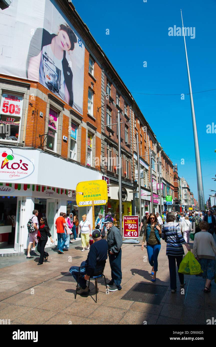 Henry Street pedestrian shoppiing street central Dublin Ireland Europe - Stock Image