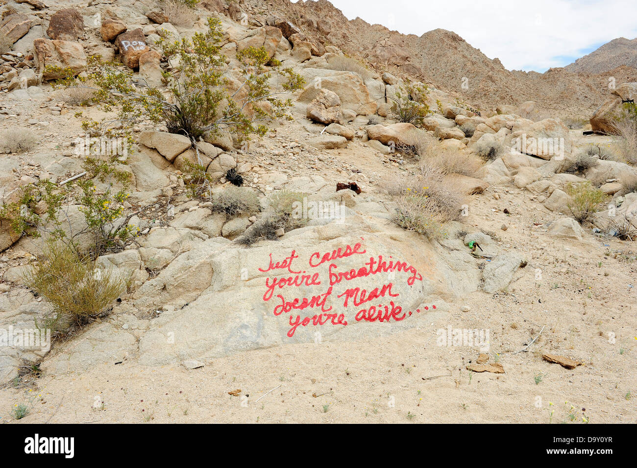 Mojave desert California USA, Graffiti on rocks that reads: Just because you're breathing doesn't mean you're alive.... Stock Photo