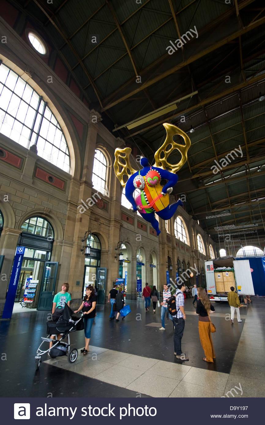 Artwork by Nik de Saint Phalle,Railway station,Zurich,Switzerland - Stock Image