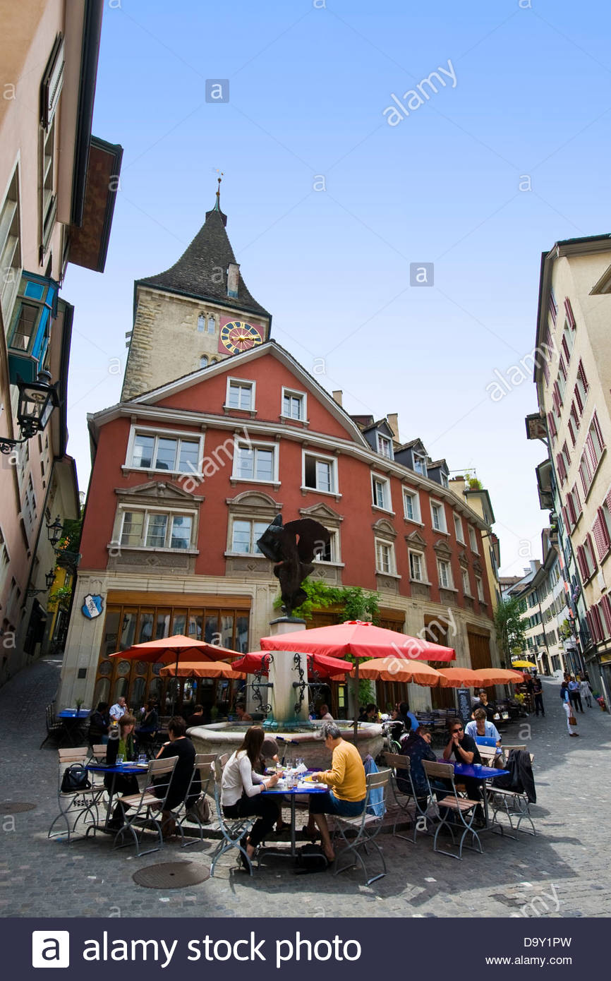 Restaurant in old town,Zurich,Switzerland - Stock Image