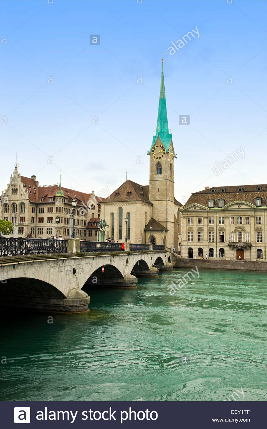 Fraumunster church,Zurich,Switzerland - Stock Image
