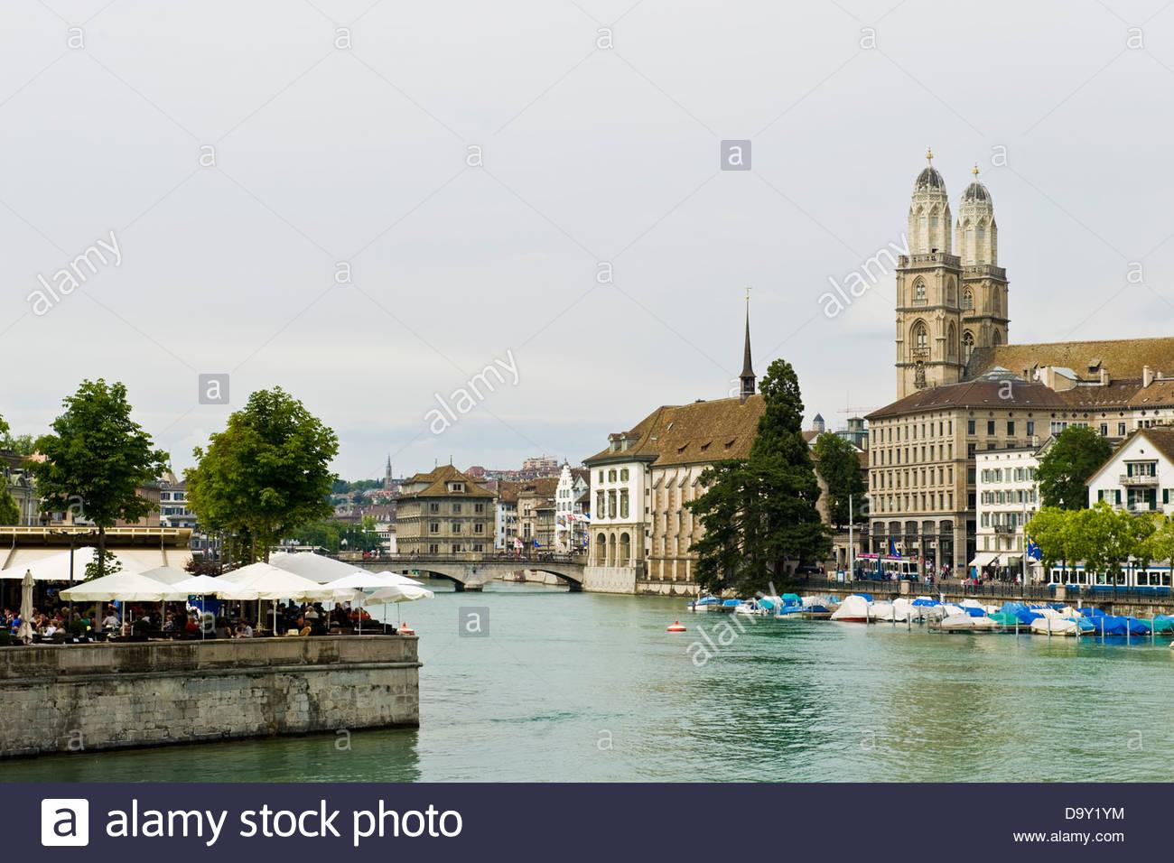Limmat river,Zurich,Switzerland - Stock Image