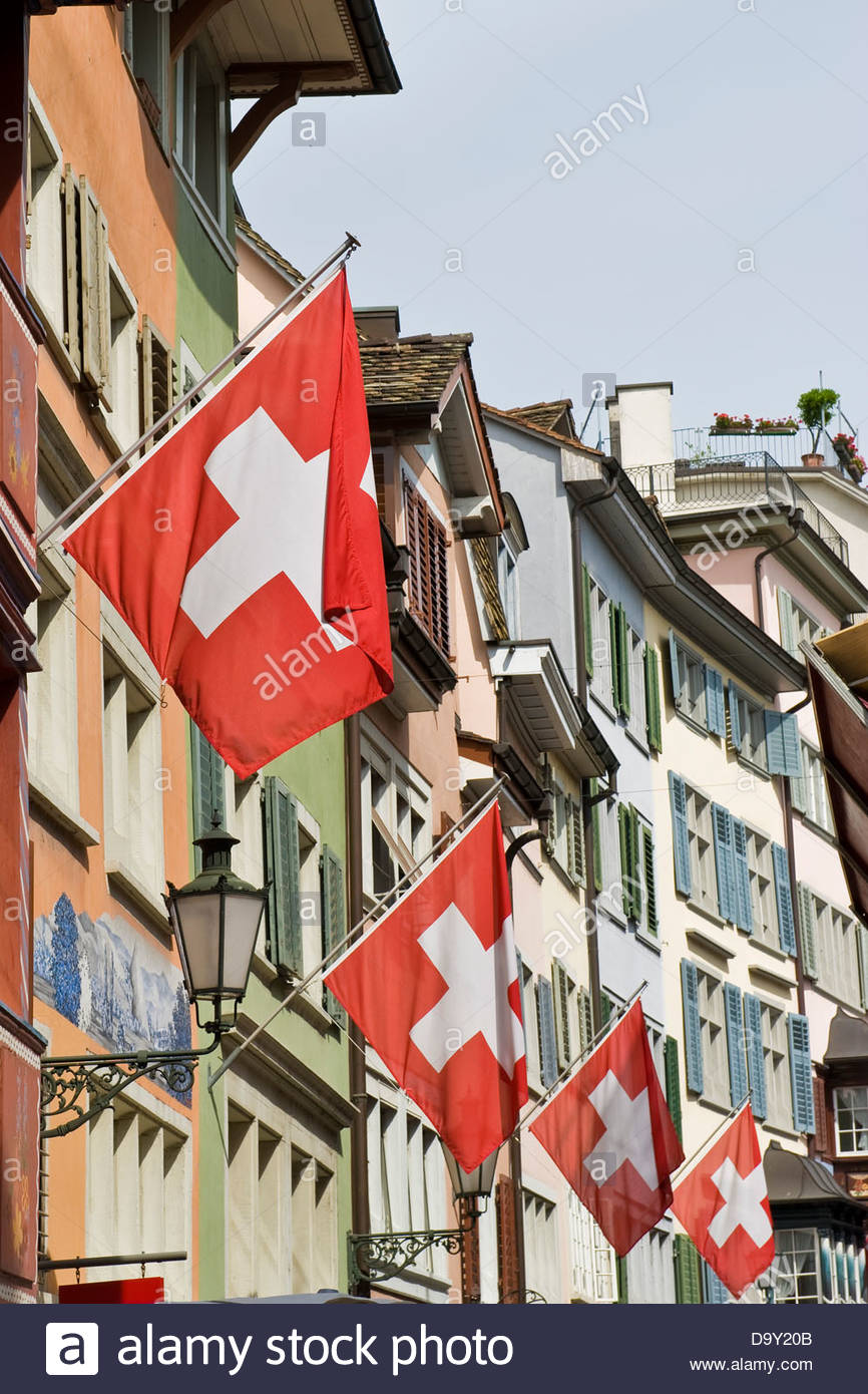 Traditional street,Zurich,Switzerland - Stock Image