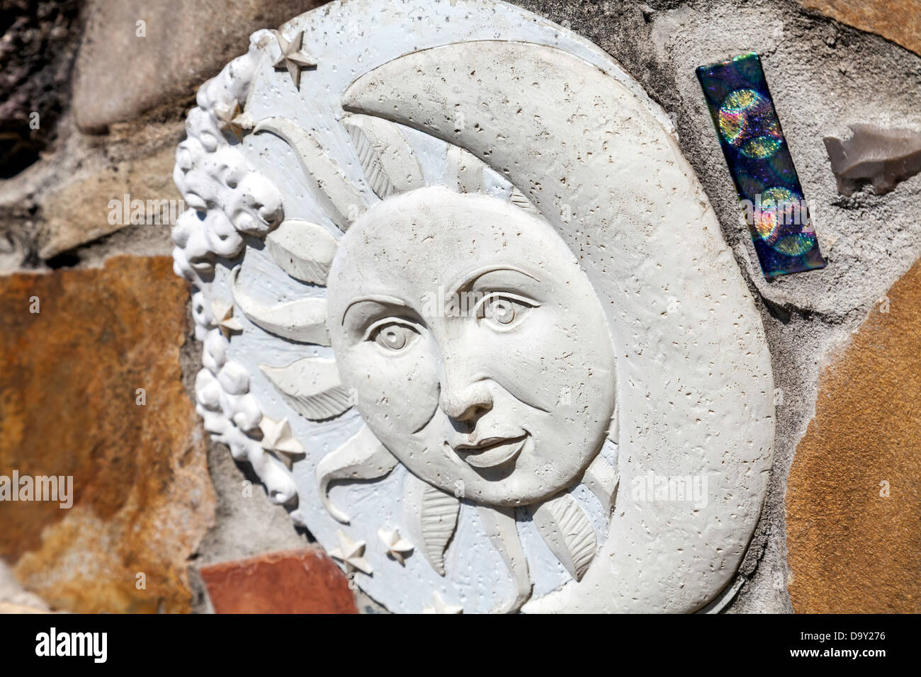 Sculptural Art And Ceramic Tiles Embedded In A Stone Wall Surrounding Stock Photo Alamy