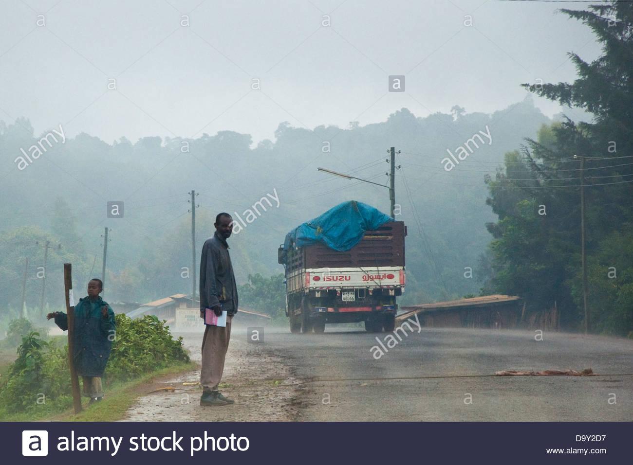 On the road,Surrounding of Awasa,Ethiopia - Stock Image