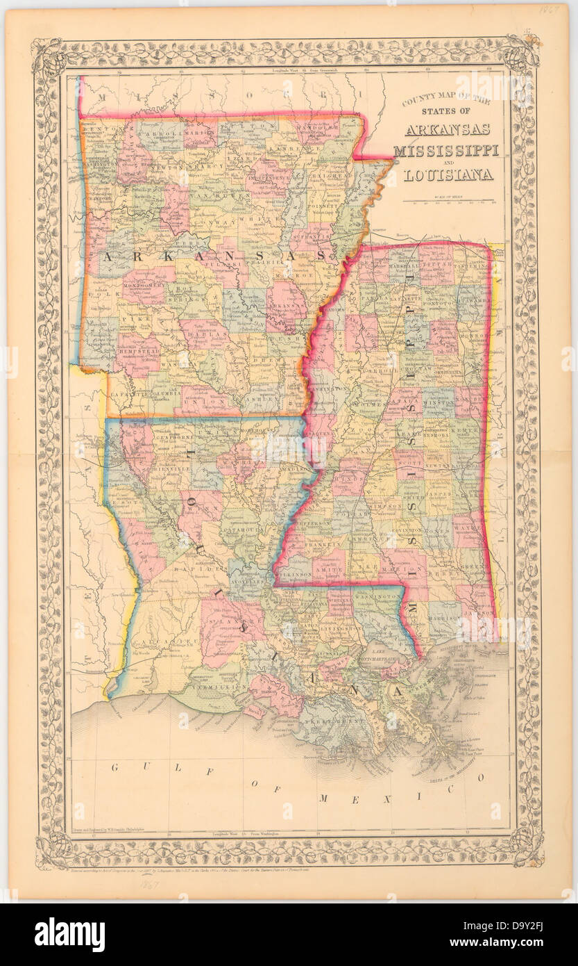 County map of the state of Arkansas Mississippi and Louisiana