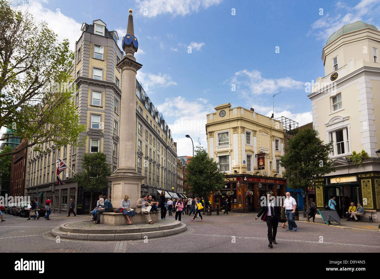 The Seven Dials junction, Covent Garden, London - Stock Image