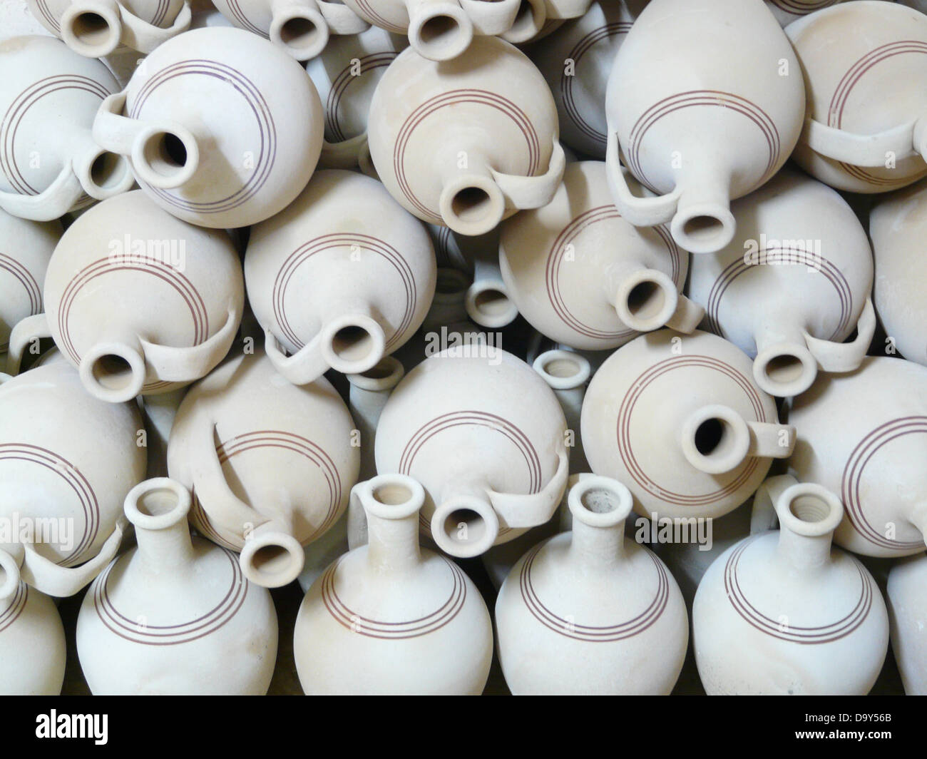 jugs pottery fragile earthen material earthenware - Stock Image