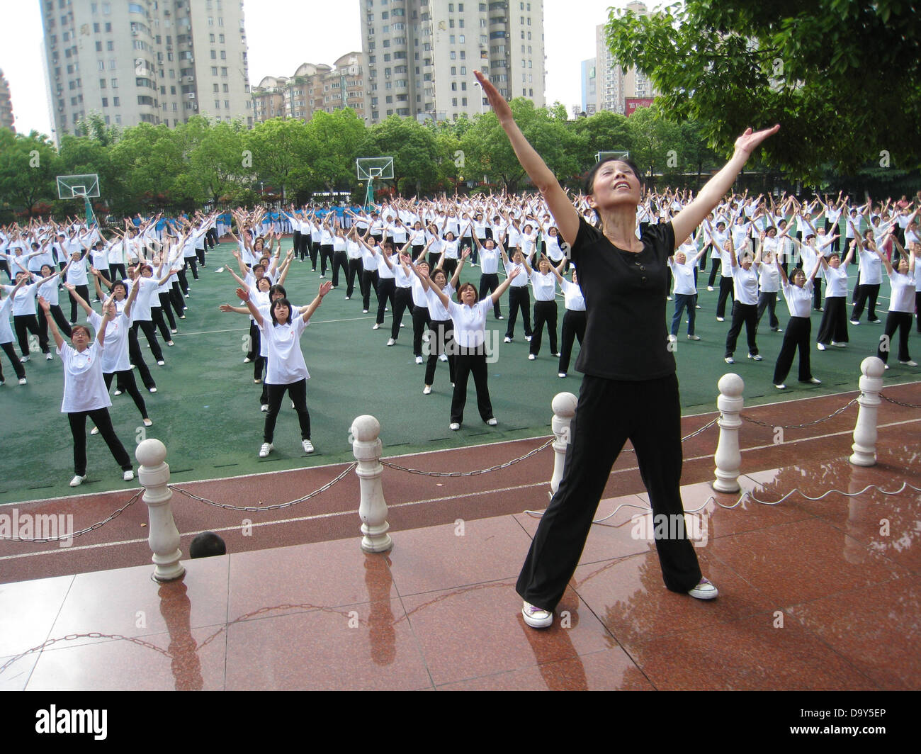 shanghai life community exercise exercises sports - Stock Image