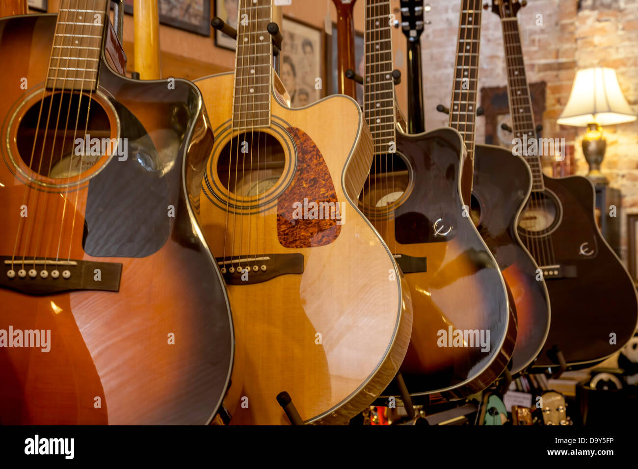 fender and alvarez acoustic guitars on display in a vintage music stock photo 57760074 alamy. Black Bedroom Furniture Sets. Home Design Ideas