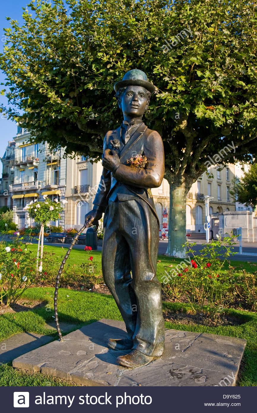 Charlie Chaplin statue,Vevey,Switzerland - Stock Image