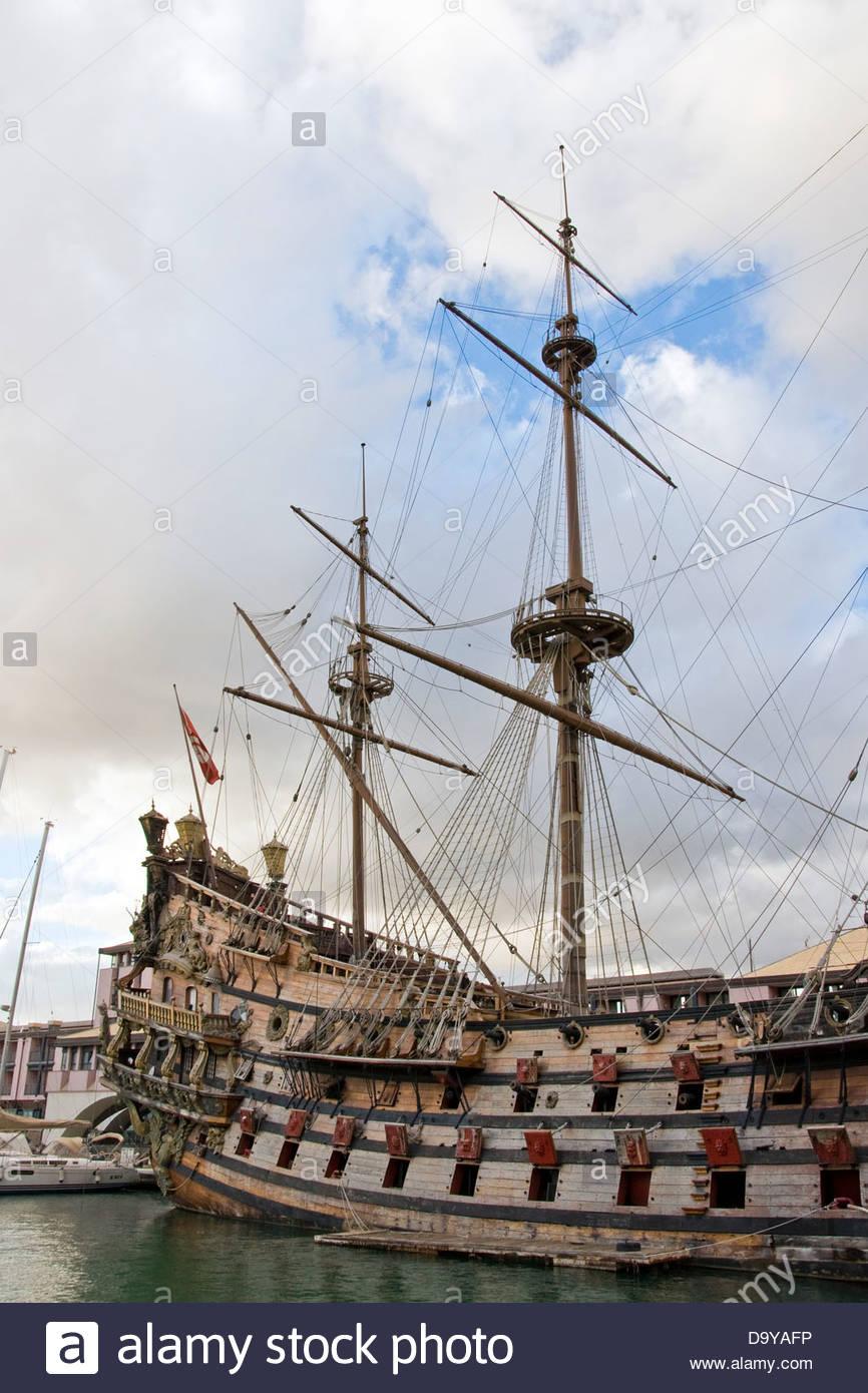 Nettuno Old Galleon,Genoa,Liguria,Italy - Stock Image