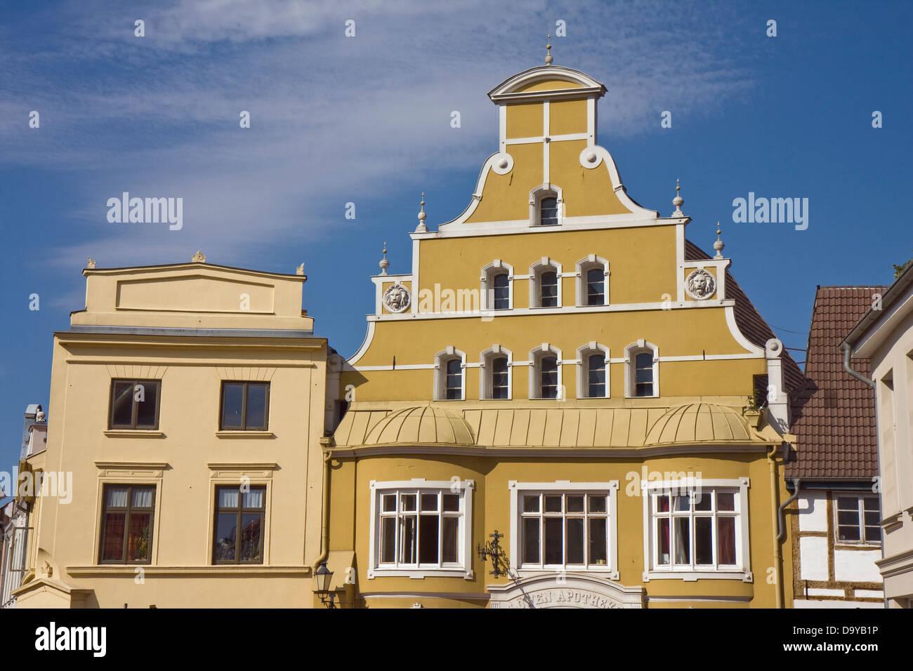 Europe, Germany, Mecklenburg-Western Pomerania, Wismar, old gable houses - Stock Image