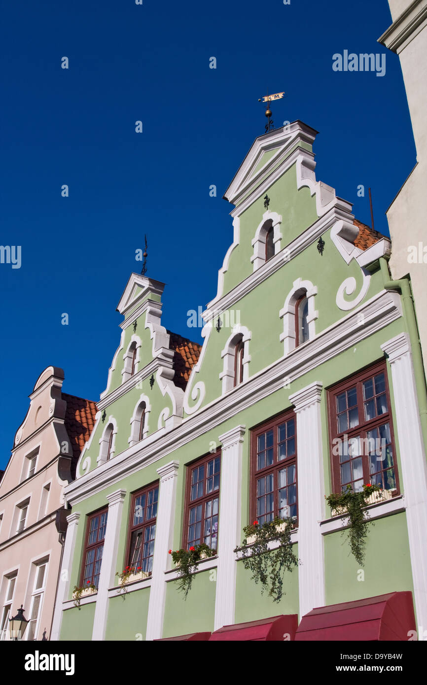 Europe, Germany, Mecklenburg-Western Pomerania, Wismar, old gable houses Stock Photo