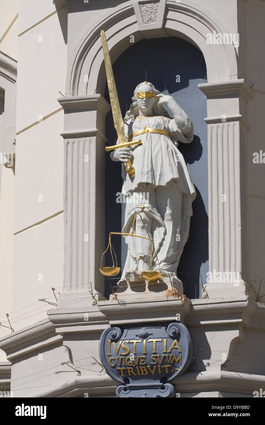 Europe, Germany, Lower Saxony, Lueneburg, Justitia statue at City Hall - Stock Image