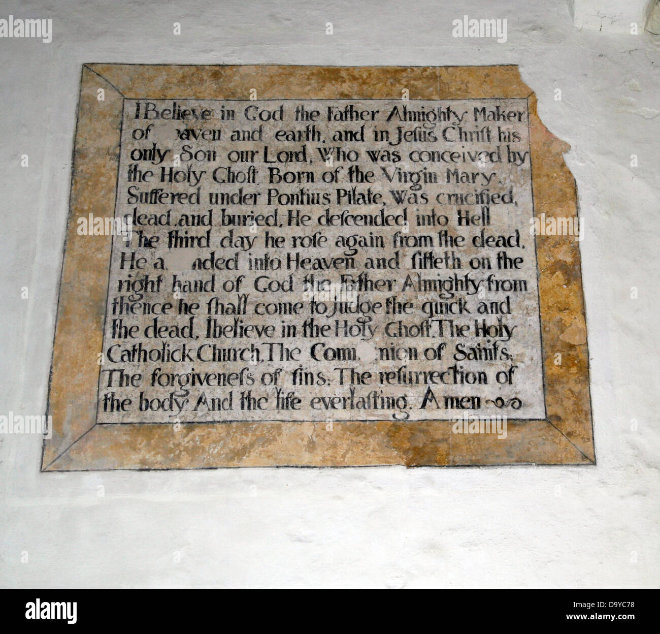 The Apostles Creed stone inscription St Martin on the Wall church interior Wareham Dorset England UK - Stock Image