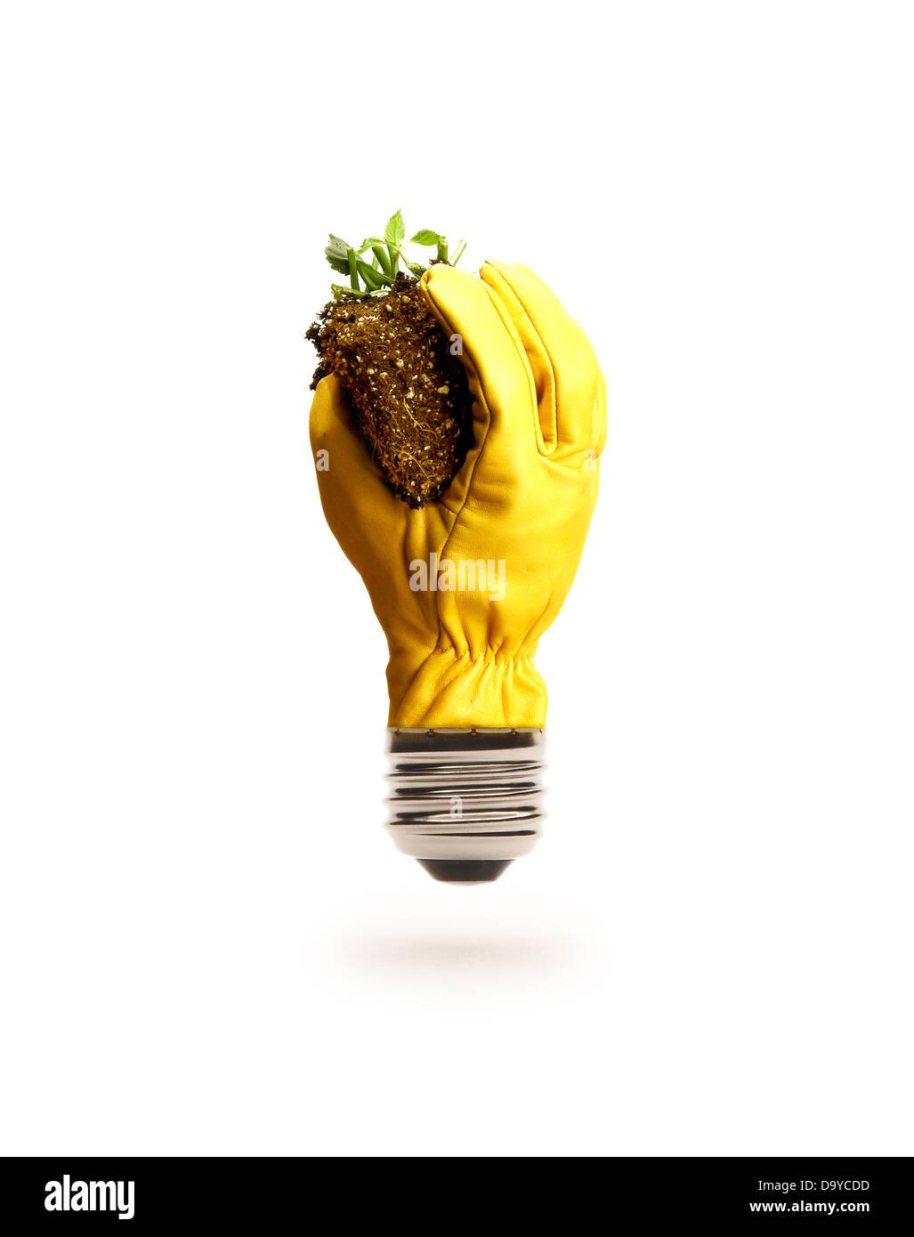 Gloved Hand Light Bulb Holding DIrt - Stock Image