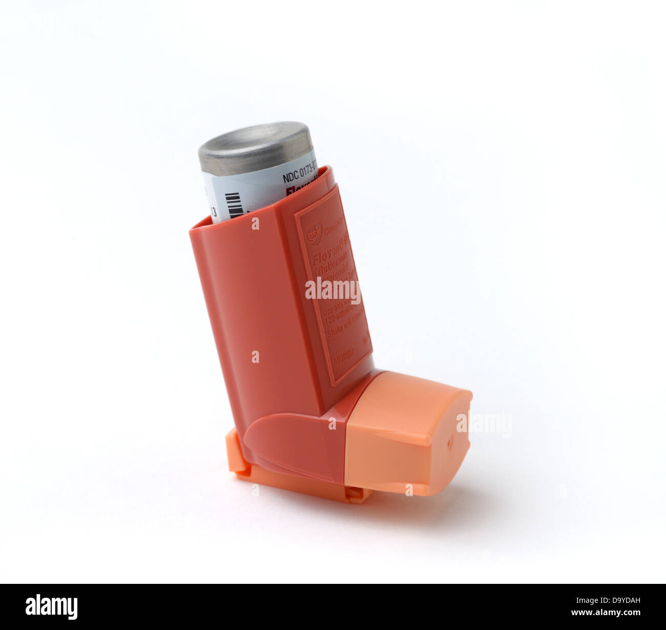 Inhaler for metered doses of aerosol medications for asthma, COPD etc - Stock Image