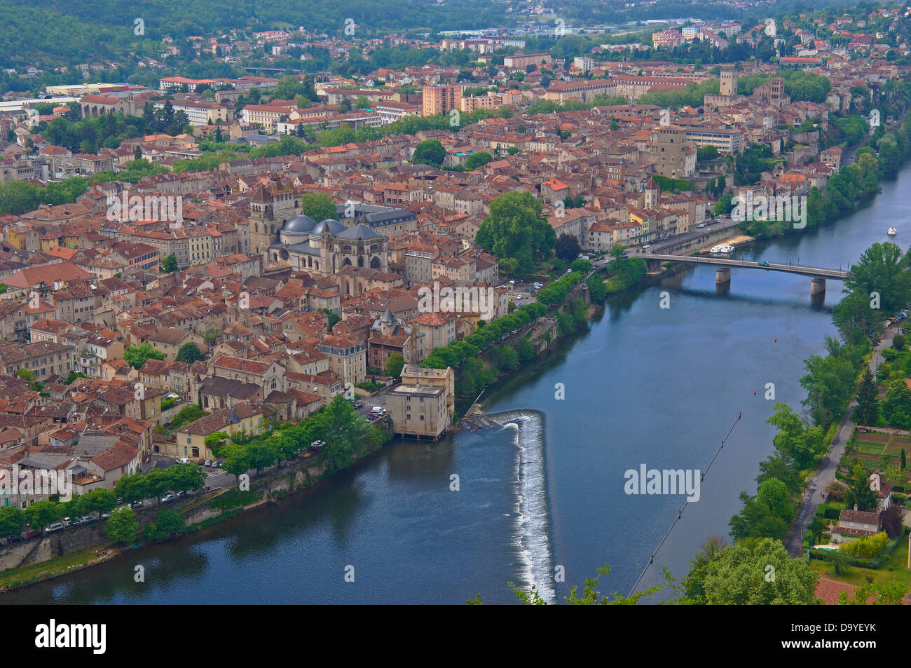 Cahors, Lot River, Lot departament, Quercy, Via Podiensis, Way of St James, France. Stock Photo