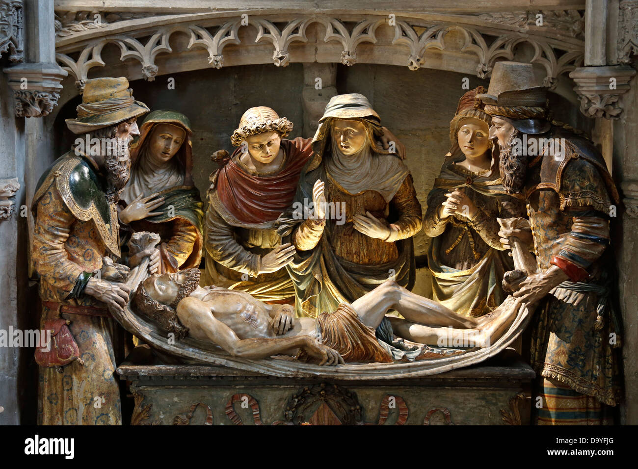 Christ dead in the arms of Virgin Mary, Sculpture group in the cathedral Notre Dame la Grande, Poitiers, France - Stock Image
