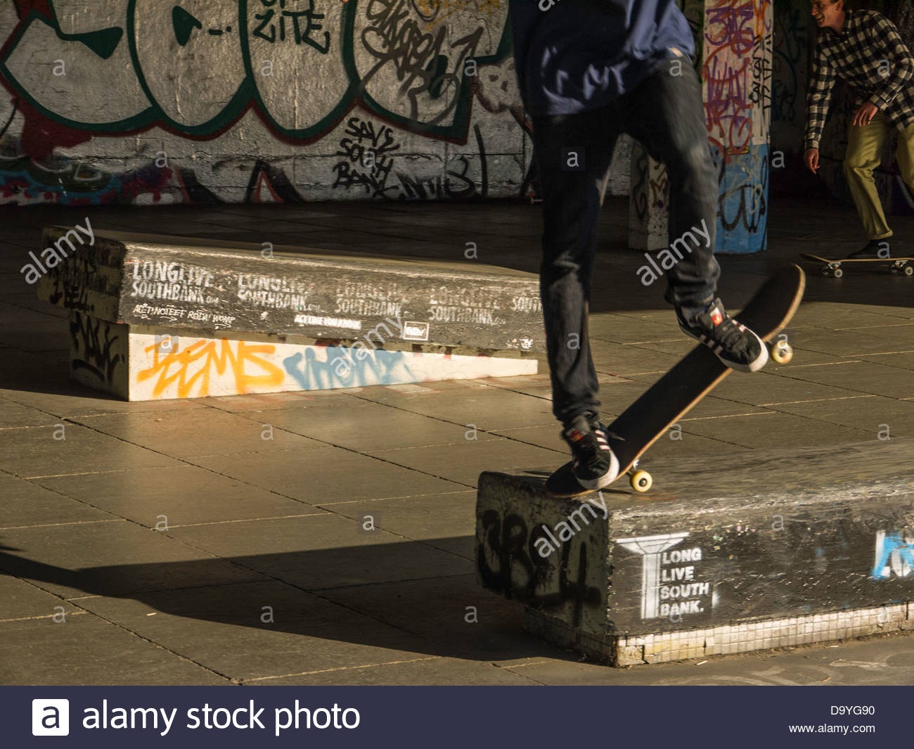 London England UK Skate Board in action Southbank - Stock Image