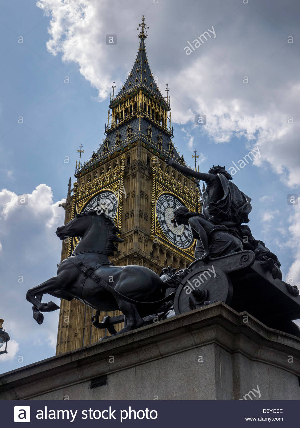 London England UK, London UK Big Ben Clock Chariot of Queen Boadicea and her daughters. - Stock Image