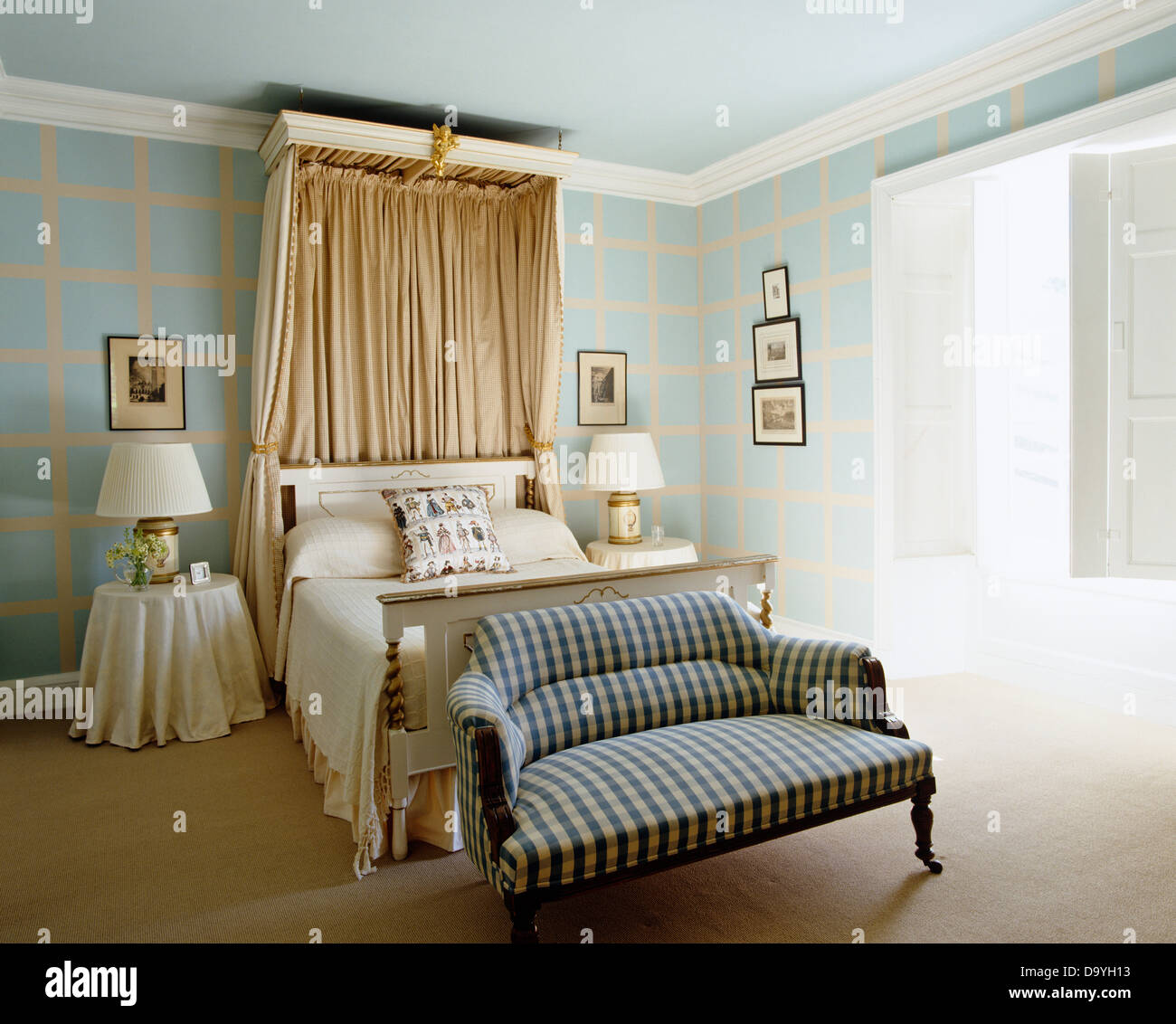 Beige Silk Drapes On Canopy Above Bed In Pale Turquoise Bedroom With Stock Photo Alamy