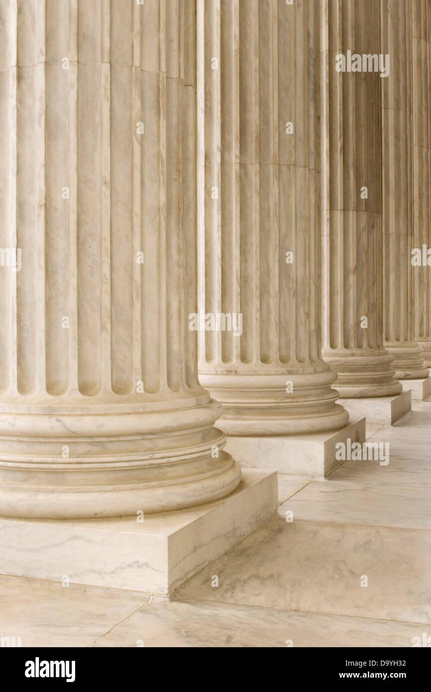 Columns at U.S. Supreme Court building in Washington, D.C. - Stock Image
