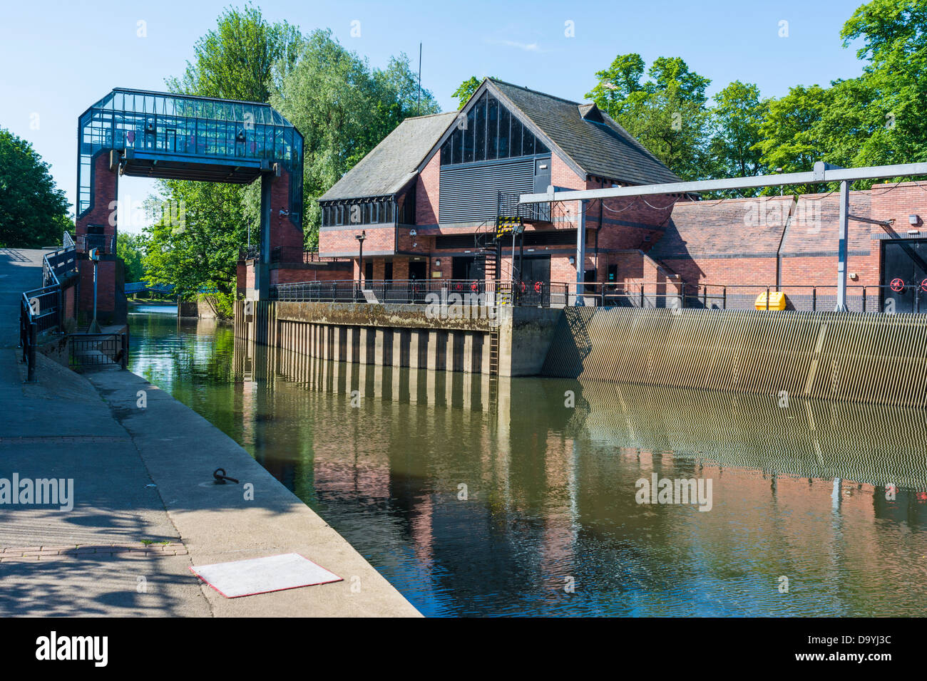 Automated Flood barrier on the river Foss, Castle Mills Lock, York, England, June - Stock Image
