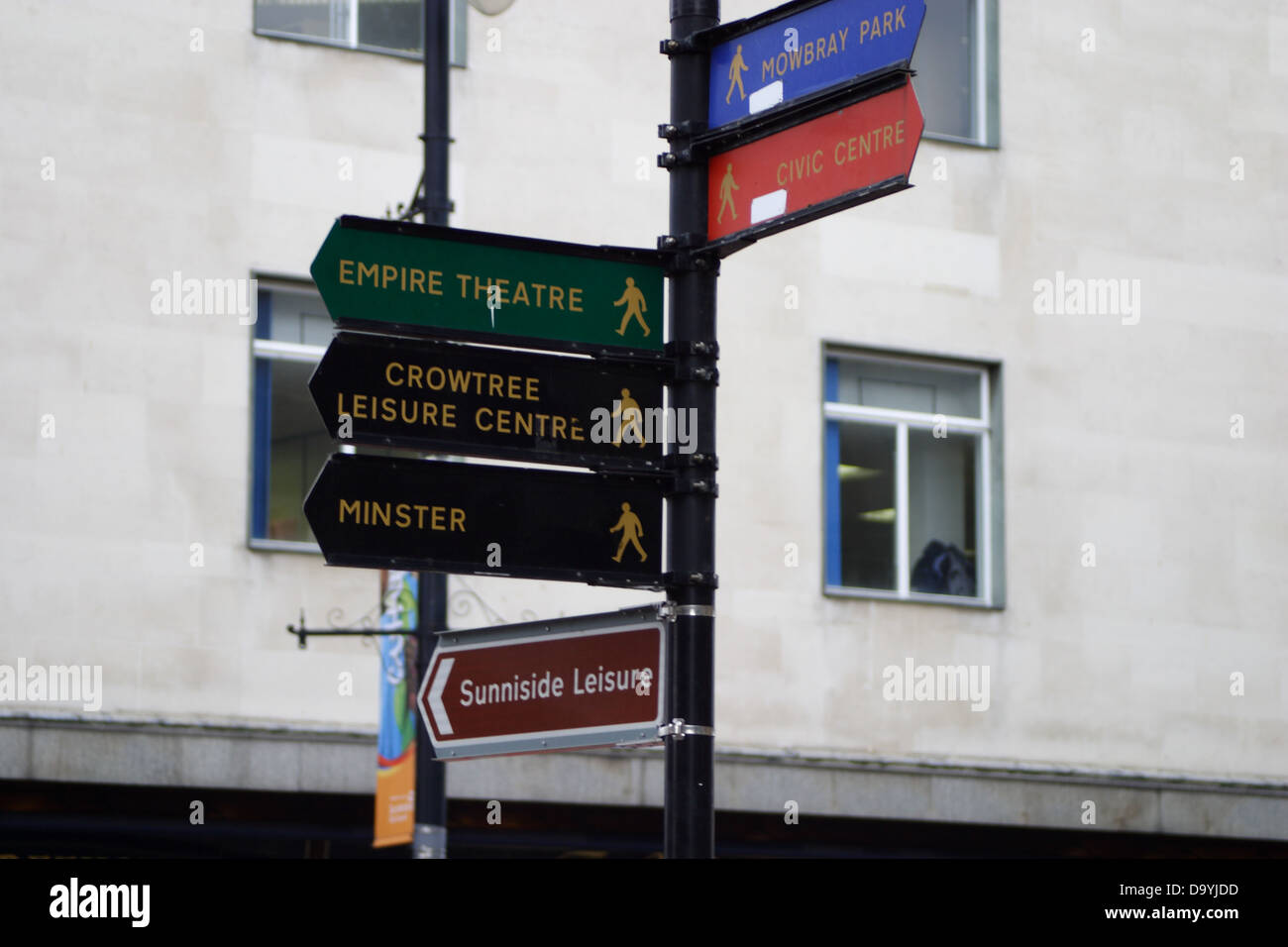 Direction signs to various attractions in Sunderland City Centre ...