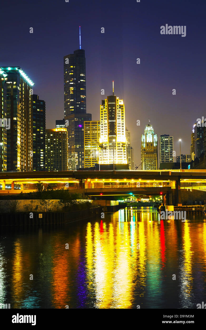 Chicago downtown with Trump International Hotel and Tower in Chicago, Illinois - Stock Image