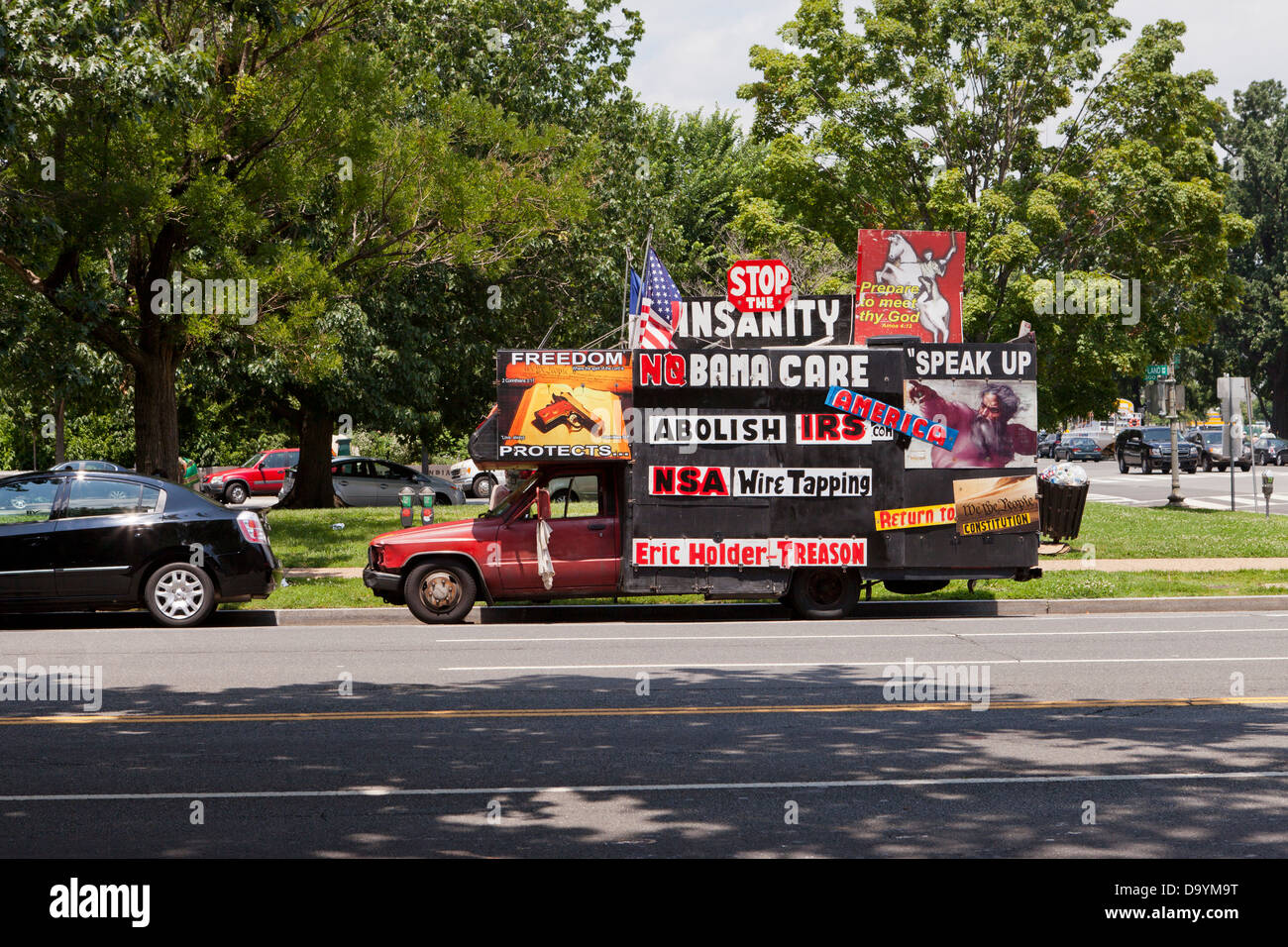 Car decorated with far-right political messages - Washington, DC - Stock Image