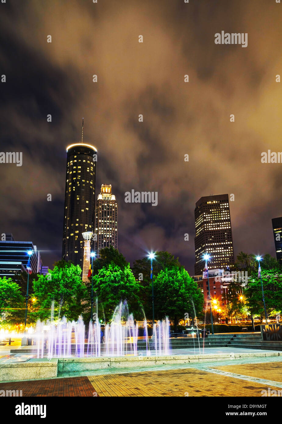 Downtown Atlanta, Georgia at night time - Stock Image