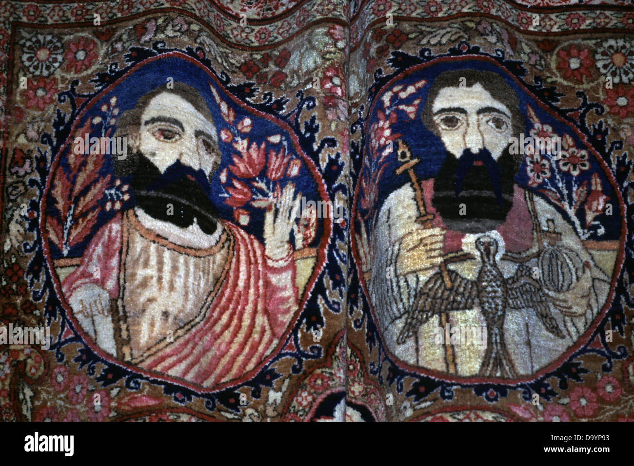 Detail from an Armenian carpet displayed at the Mardigian museum inside the Armenian Patriarchate in the Armenian - Stock Image